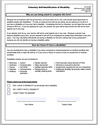 Voluntary Self-Identification Form